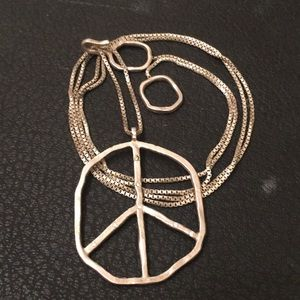 Anthropology Sterling Silver Peace Chain Necklace